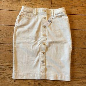 NWT Banana Republic Button Front Denim Skirt Cream